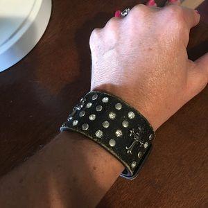 Jewelry - Bling Black Leather Cross Bracelet w/ Rhinestones